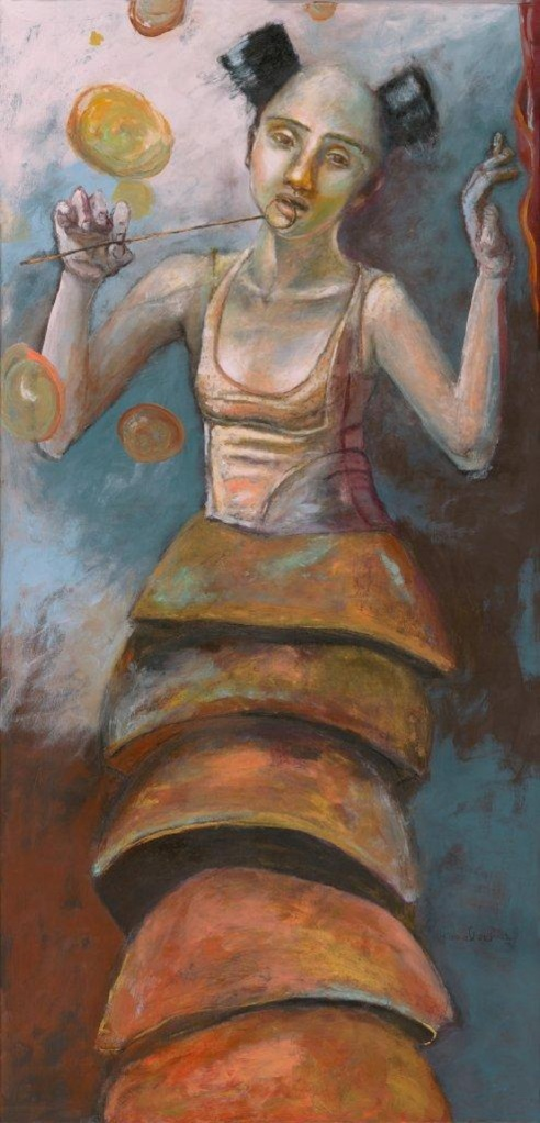 "Her Name is Love: Stiltwalker 45""x8'tall. Acrylic and mixed media on wood"