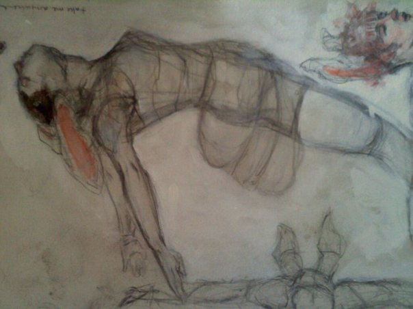 Part of middle section of floating figures. Sketch on paper (private collection)