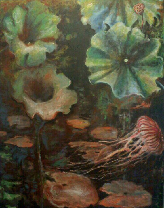 "The Wilderness (separate panel) There's a magical dark space in the center of this painting, jellyfish, lillypads and plants from Duke Gardens, Durham North Carolina. 45""wx65""h (private collection)"