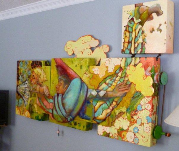 Flight of the Yellow Babushkas, acrylic on wood, 8'w x 3'h