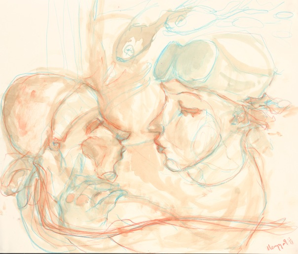 Sketch of Acrobats Kissing 3