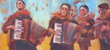 Accordionists, oil, 90x38 in